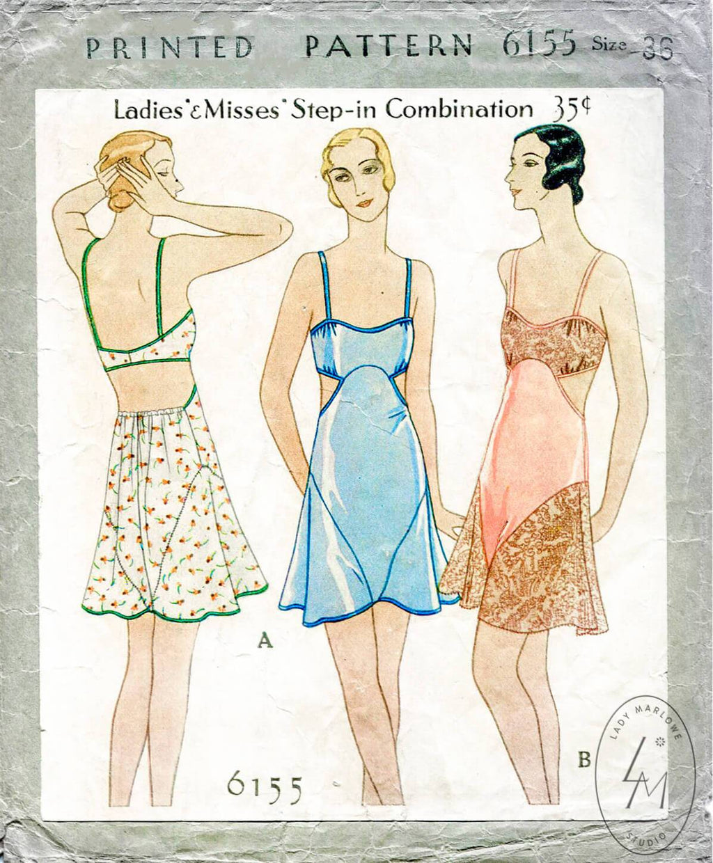 McCall 6155 1920s flapper vintage lingerie sewing pattern romper teddy