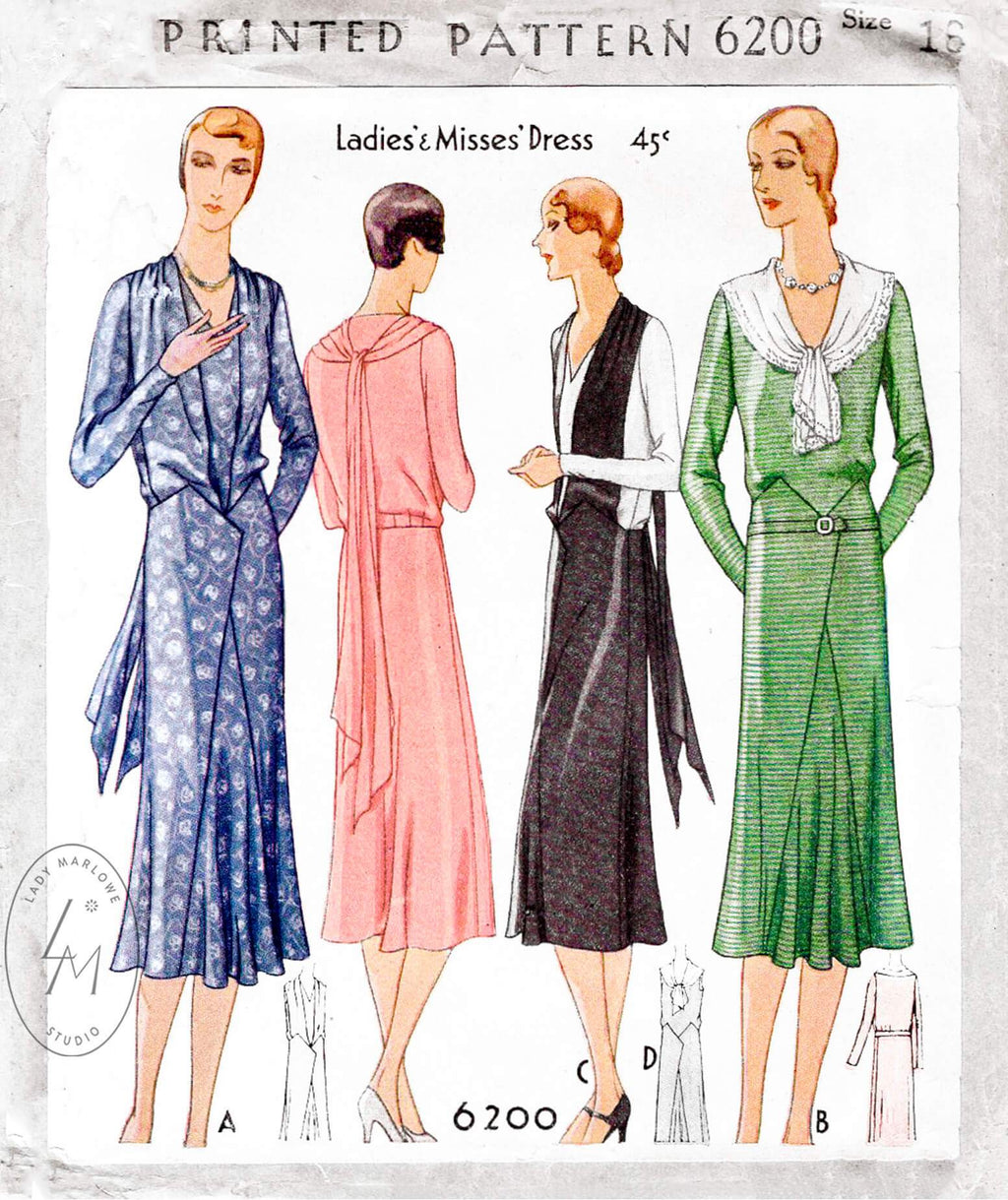 1930 30s McCall 6200 afternoon tea dress draped scarf collar art deco seams flounce skirt vintage sewing pattern reproduction