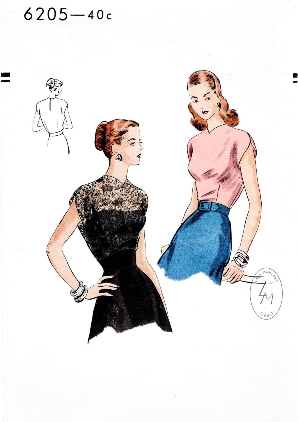 Vogue 6205 vintage sewing pattern 1940s Blouse cap sleeves fitted bodice, easy to make reproduction