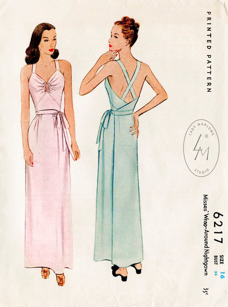 McCall 6217 1940s vintage sewing pattern 1940 40s lingerie dress