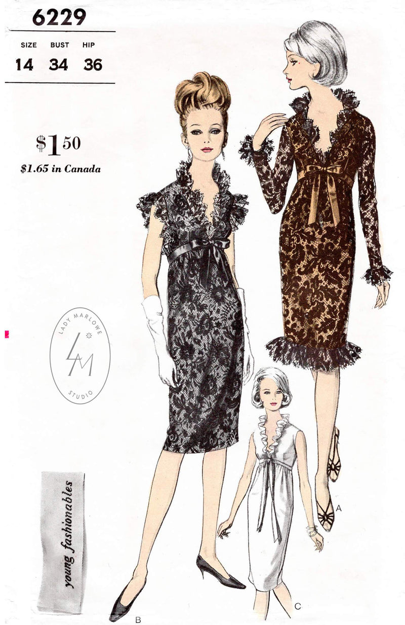 Vogue 6229 1960s cocktail dress vintage sewing pattern reproduction