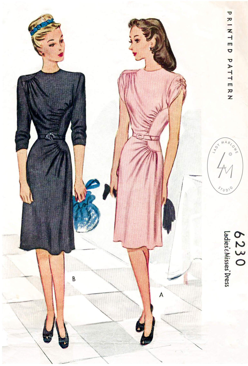 McCall 6230 1940s dress vintage sewing pattern reproduction