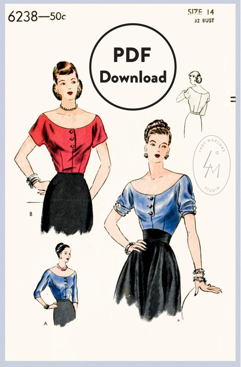 Vogue 6238 1950s vintage sewing pattern 1950 50s blouse top PDF download