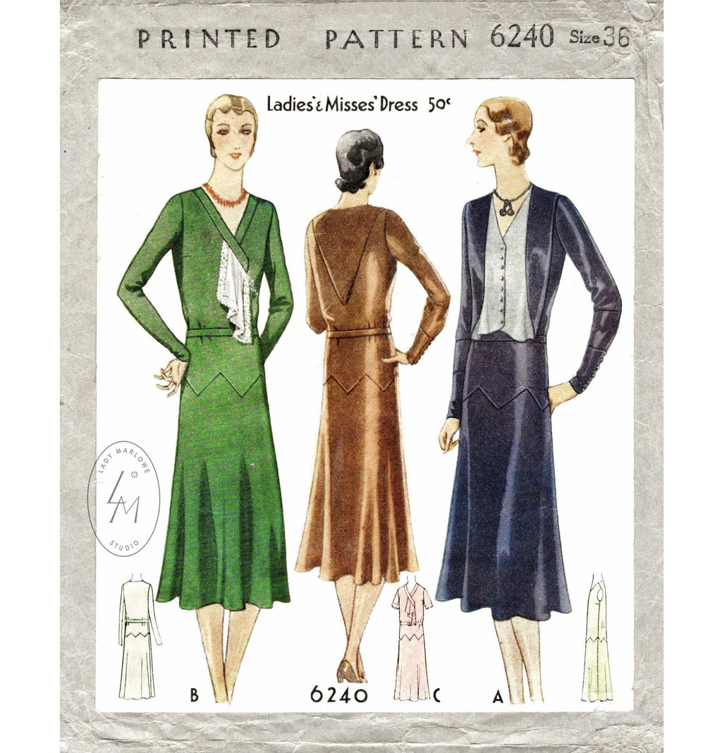 McCall 6240 1930 dress 1930s 30s vintage sewing pattern