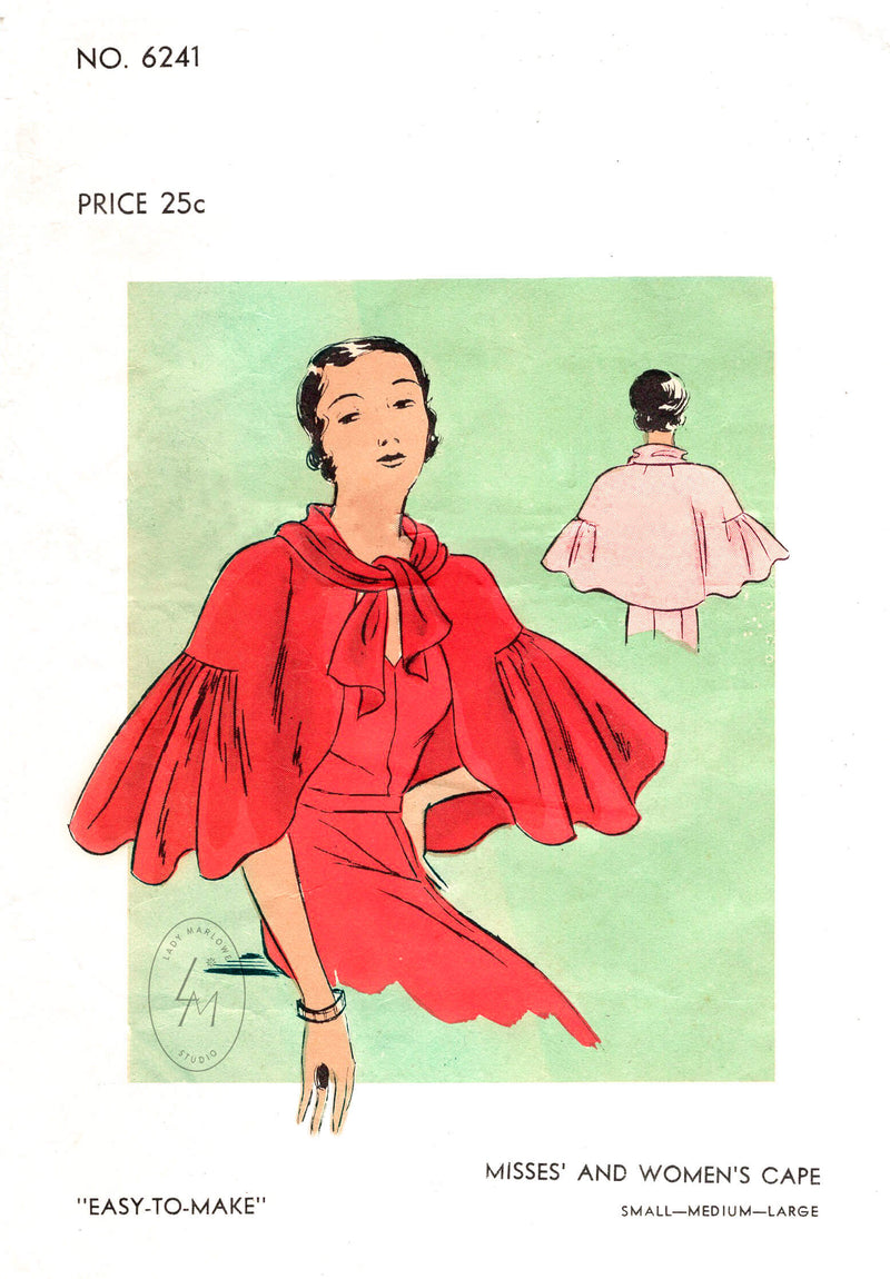 1930s vintage sewing pattern repro women's evening cape capelet ruffle inset Vogue 6241