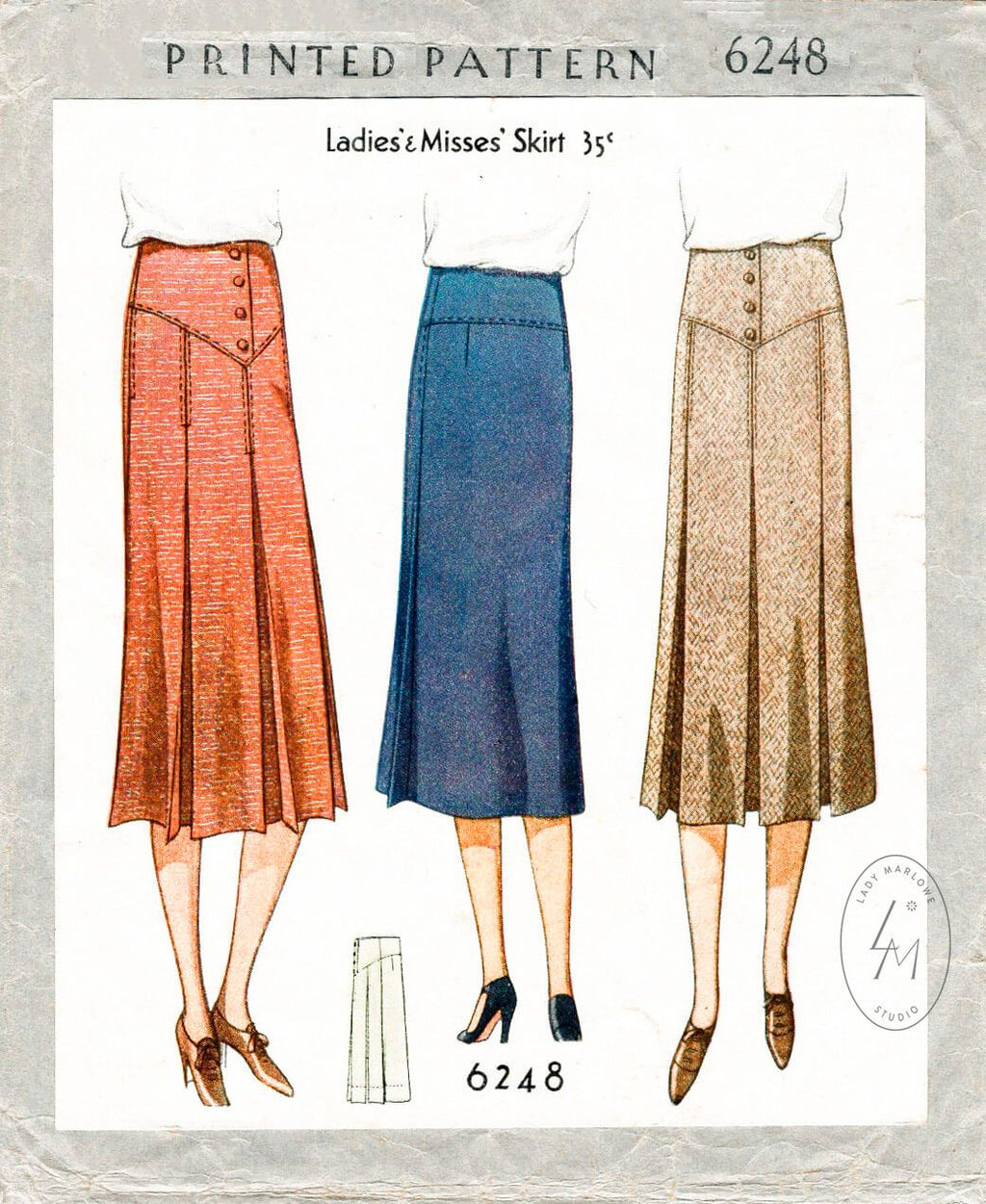 McCall 6248 1930 30s skirt inverted pleats yoke waist vintage sewing pattern reproduction