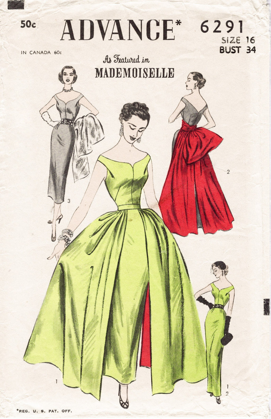 Advance 6291 1950s evening gown vintage sewing pattern