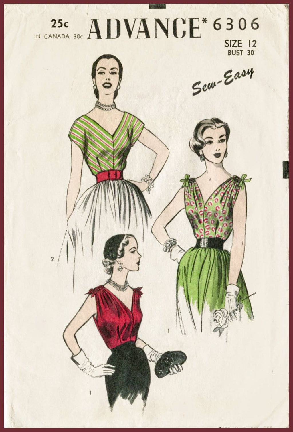 Advance 6306 1950s blouse vintage sewing pattern