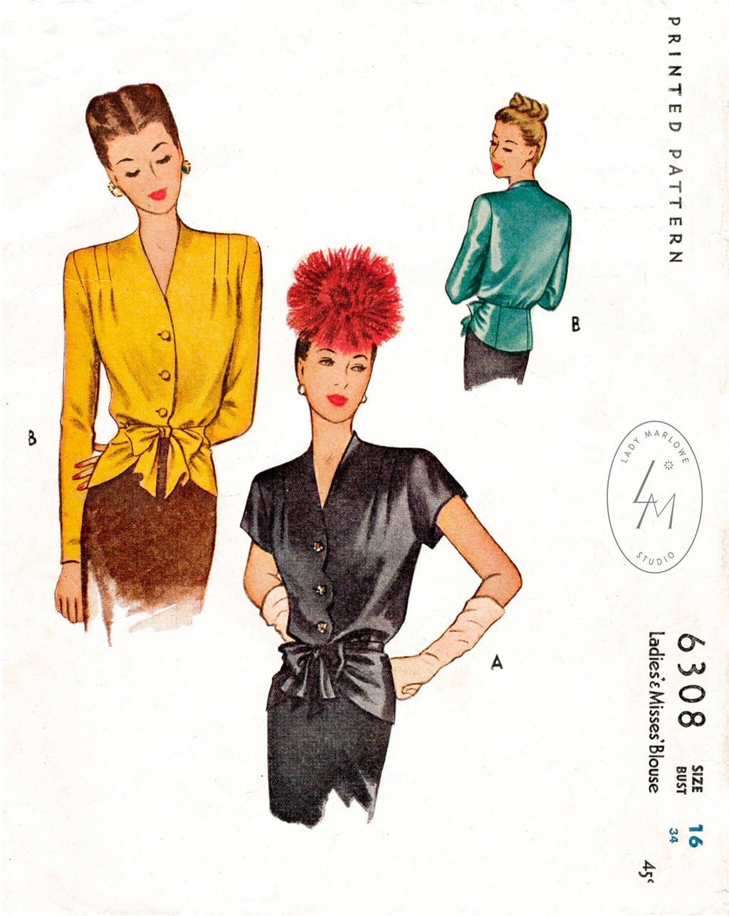 McCall 6308 1940s formal blouse or jacket vintage sewing pattern