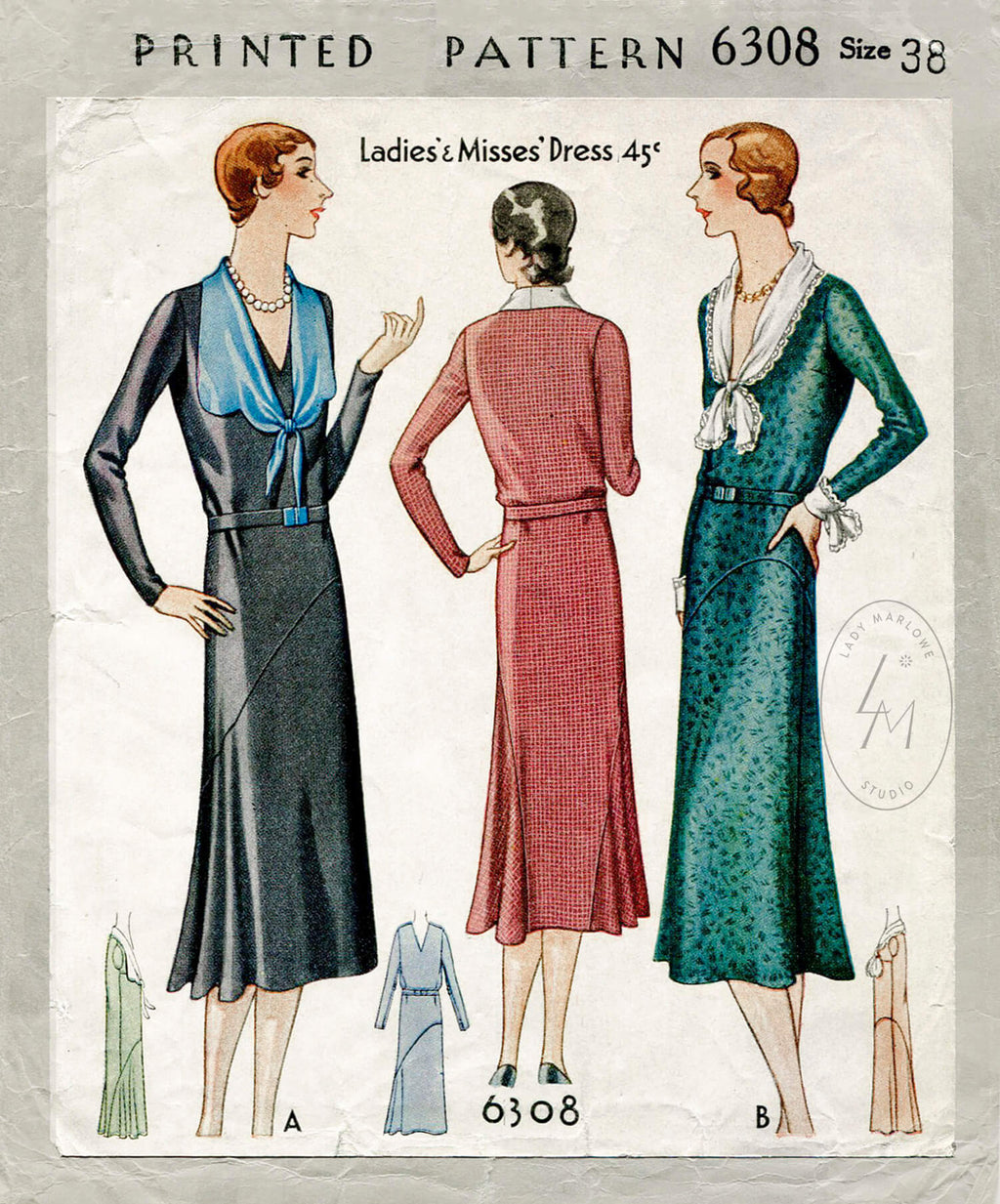 McCall 6308 1930s day dress sewing pattern