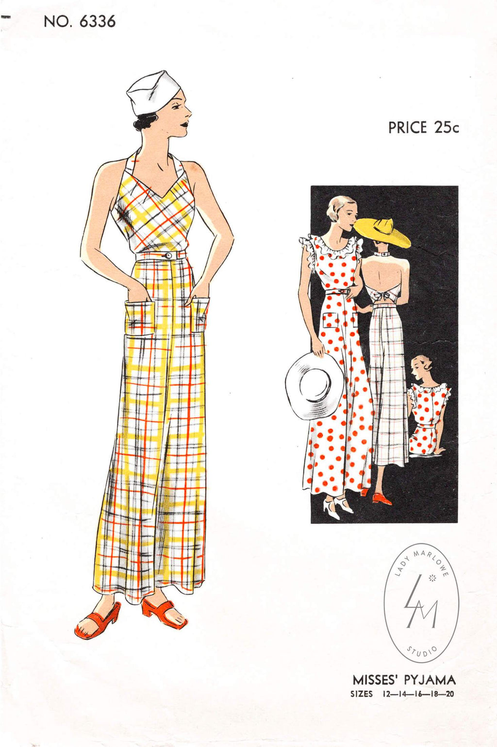 Vogue 6336 1930s pinafore jumpsuit beachwear pajamas vintage sewing pattern reproduction