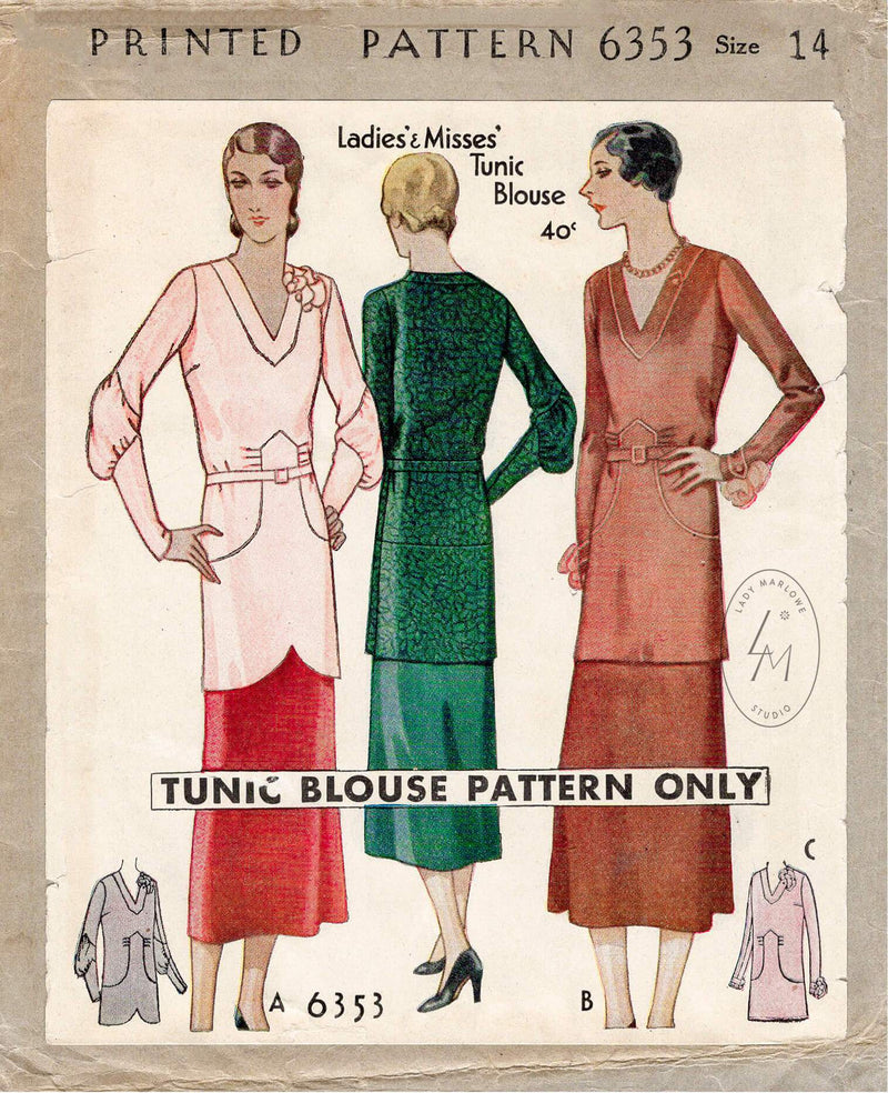 McCall 6353 1930s vintage sewing pattern 1930 30s blouse