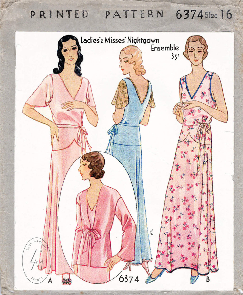 1930s 1932 McCall 6374 vintage nightgown sewing pattern