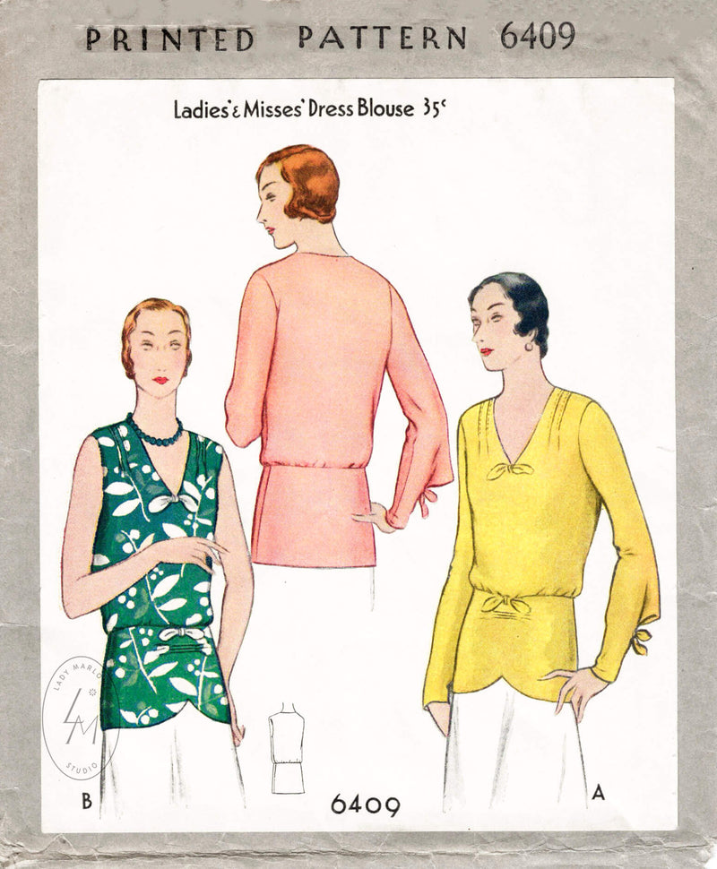 vintage sewing pattern 1930s blouse peplum waist 2 styles repro McCall 6409