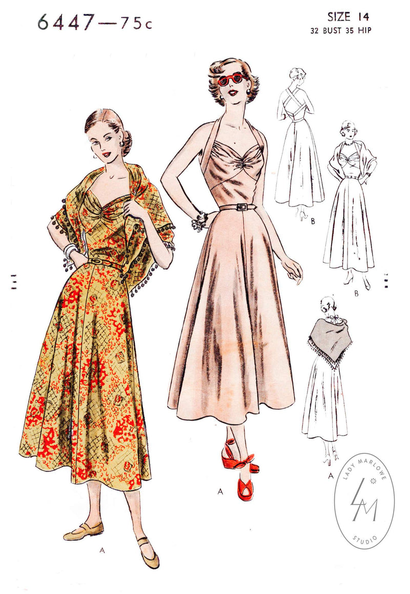 Vogue 6447 1950s halter dress rockabilly swing skirt beachwear sewing pattern repro