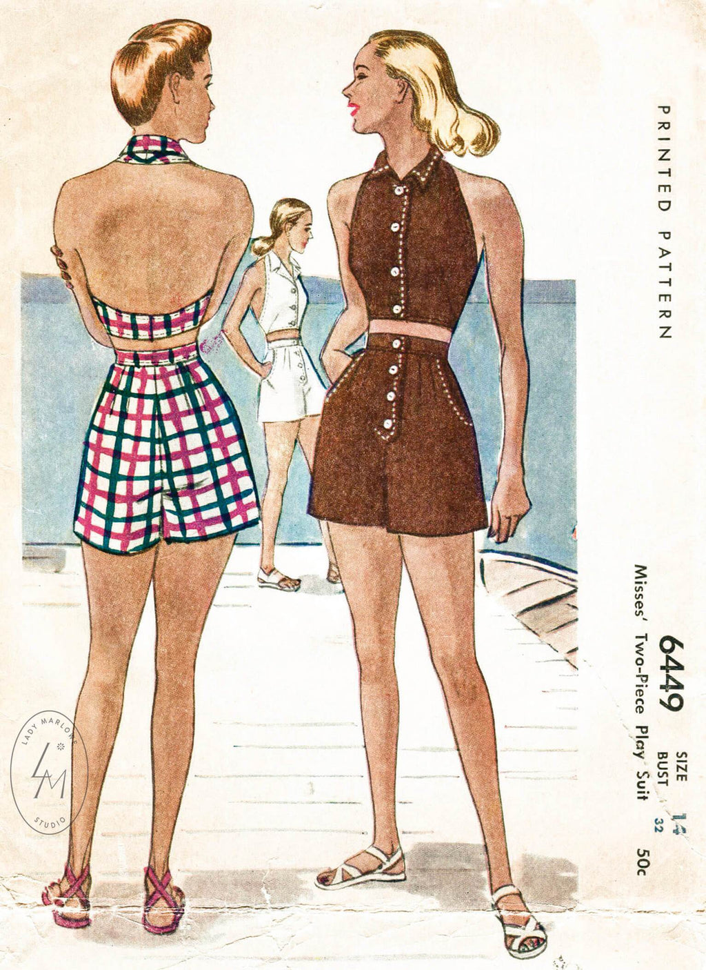 McCall 6449 1950s crop top halter high waist shorts vintage beachwear sewing pattern