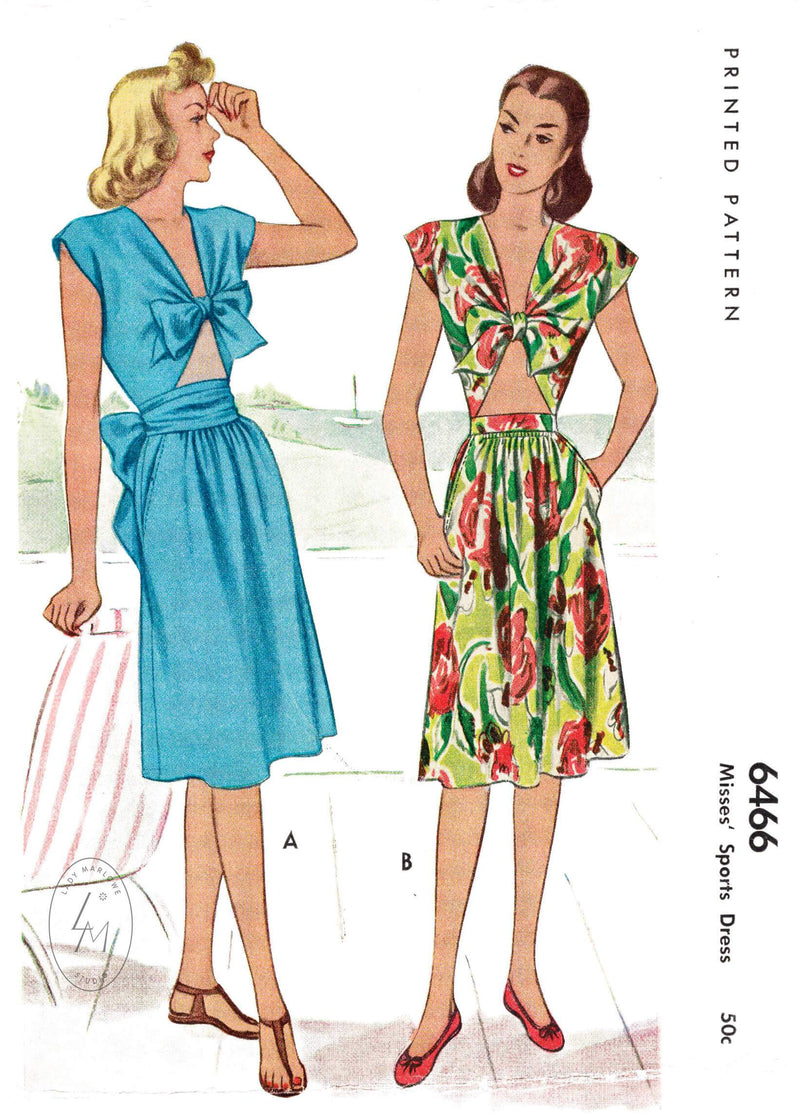 McCall 6466 1940s sun dress tie front drop top and sun skirt vintage sewing pattern repro