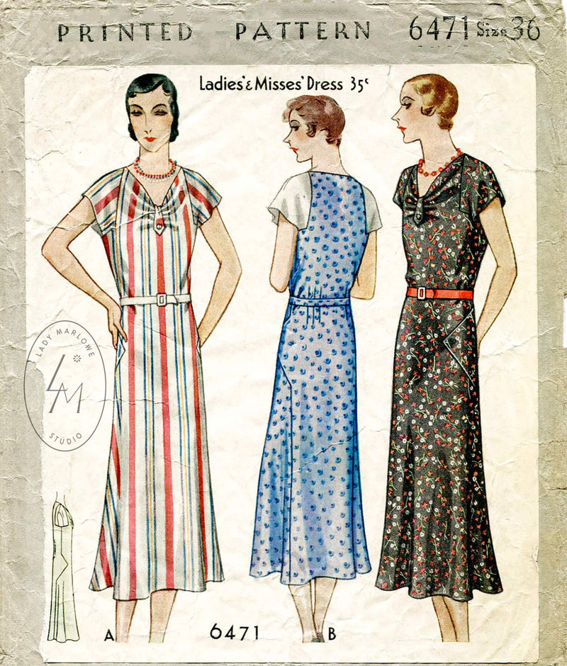 McCall 6471 1930s dress sewing pattern