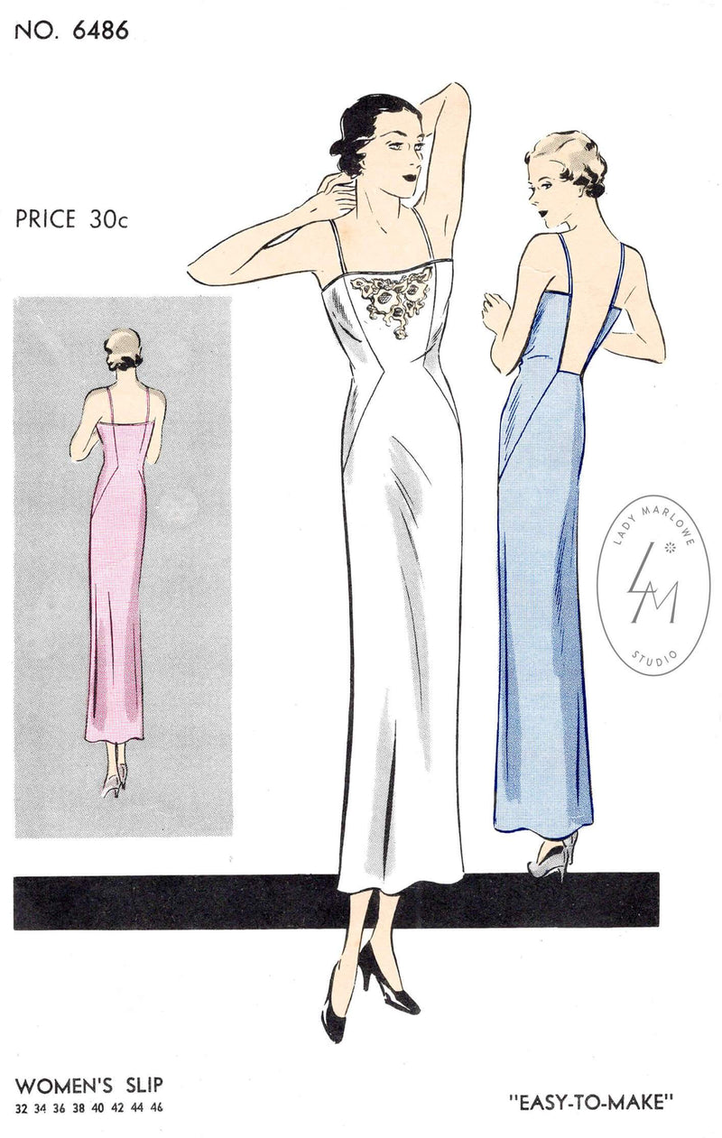 Vogue 6486 1930s vintage lingerie sewing pattern lace slip dress reproduction