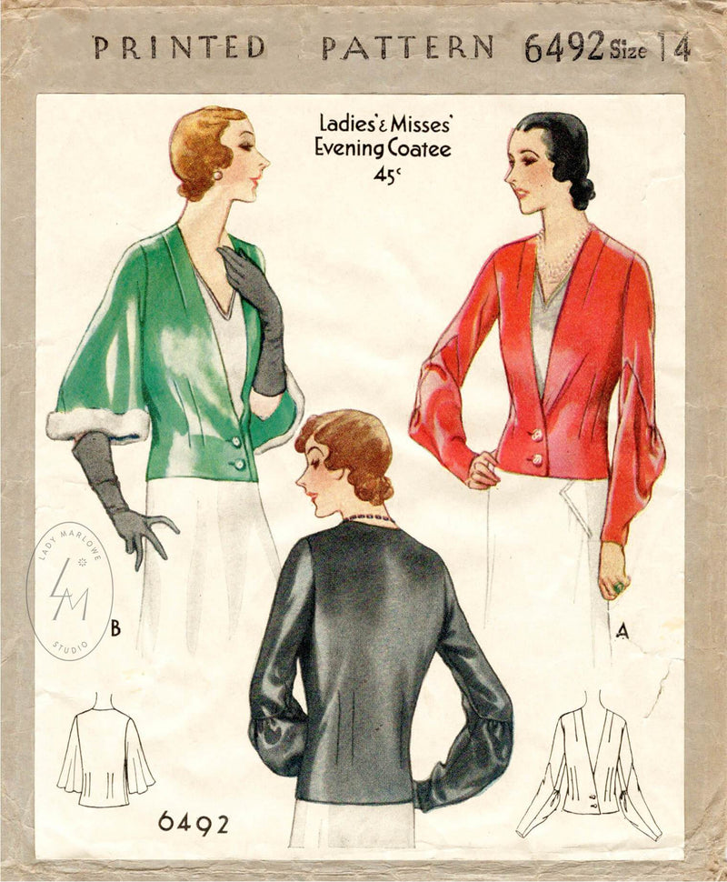 McCall 6492 1930s vintage sewing pattern 1930 30s jacket blouse