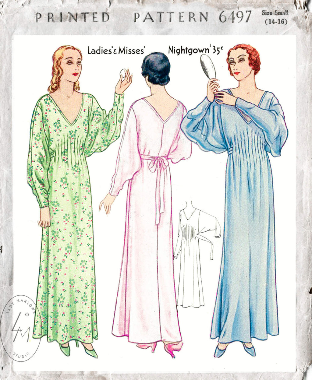 McCall 6497 1920s batwing nightgown vintage lingerie sewing pattern