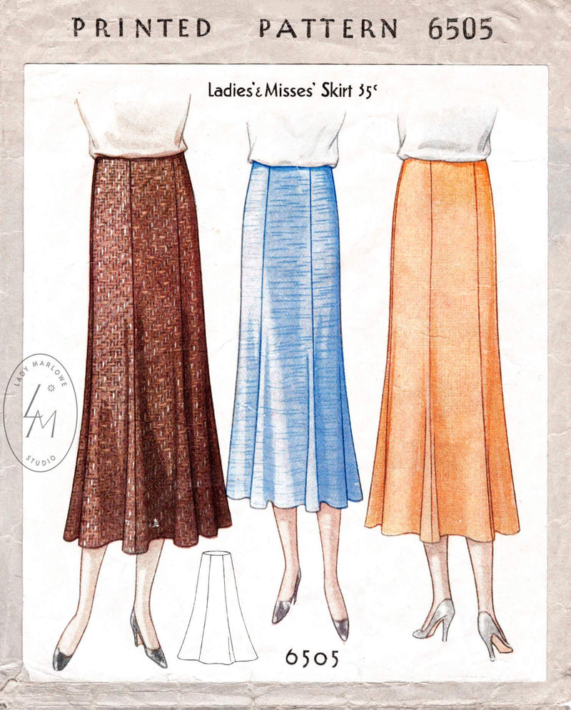 1930s 30s McCall 6505 6 piece gored skirt with flounce hem vintage sewing pattern reproduction