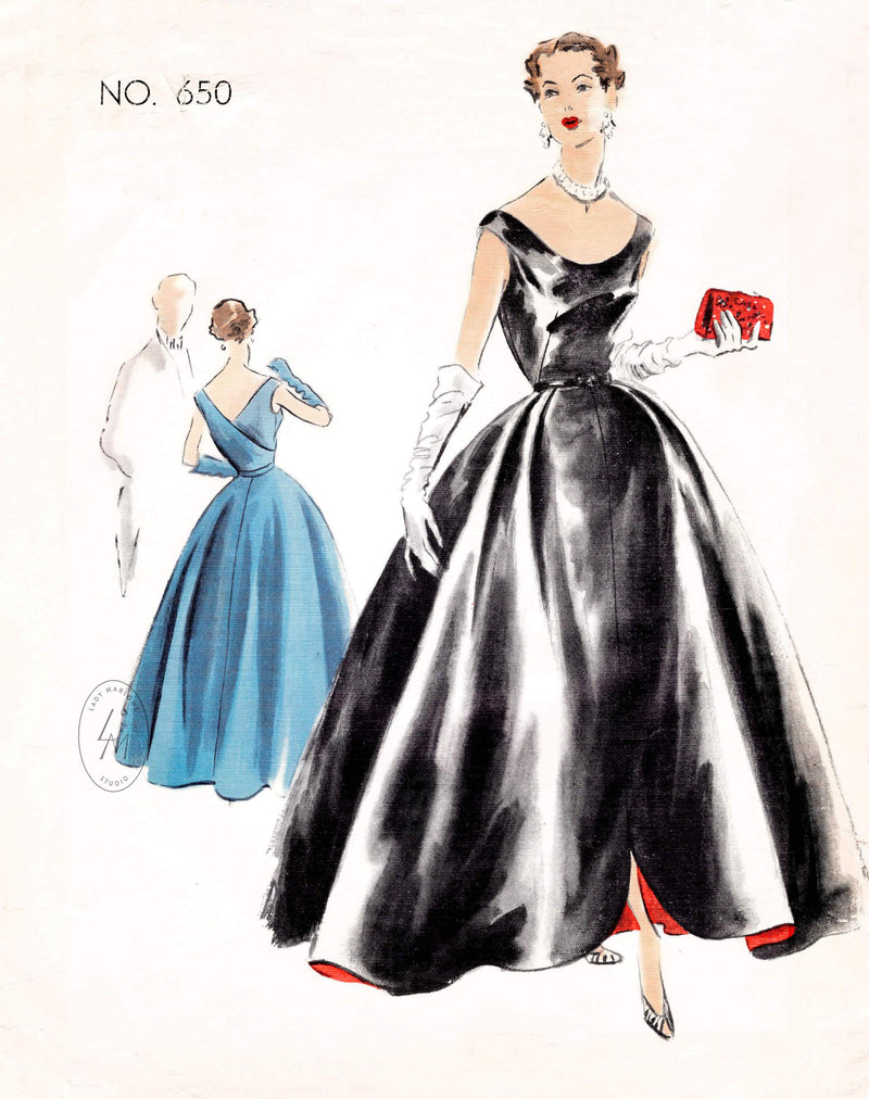 1950s 1951 Vogue Couturier 650 bardot neckline evening dress ball gown vintage sewing pattern reproduction clover leaf skirt