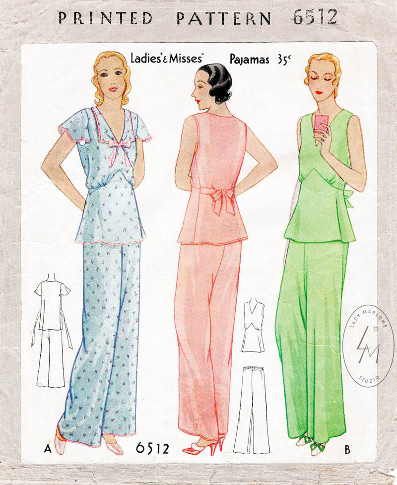 1920s 1930s vintage pajamas nightwear sewing pattern reproduction McCall 6512