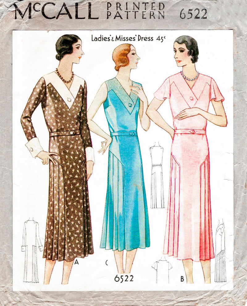 1930s 1931 dress McCall 6522 art deco seam detail yoke inset knife pleat skirt vintage sewing pattern reproduction