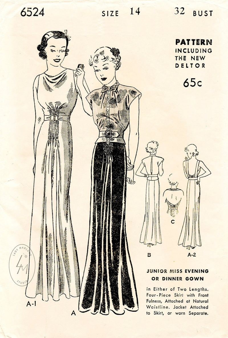 1930s 30s evening gown & cap sleeve blouse blouson Butterick 6524 art deco seams vintage sewing pattern repro