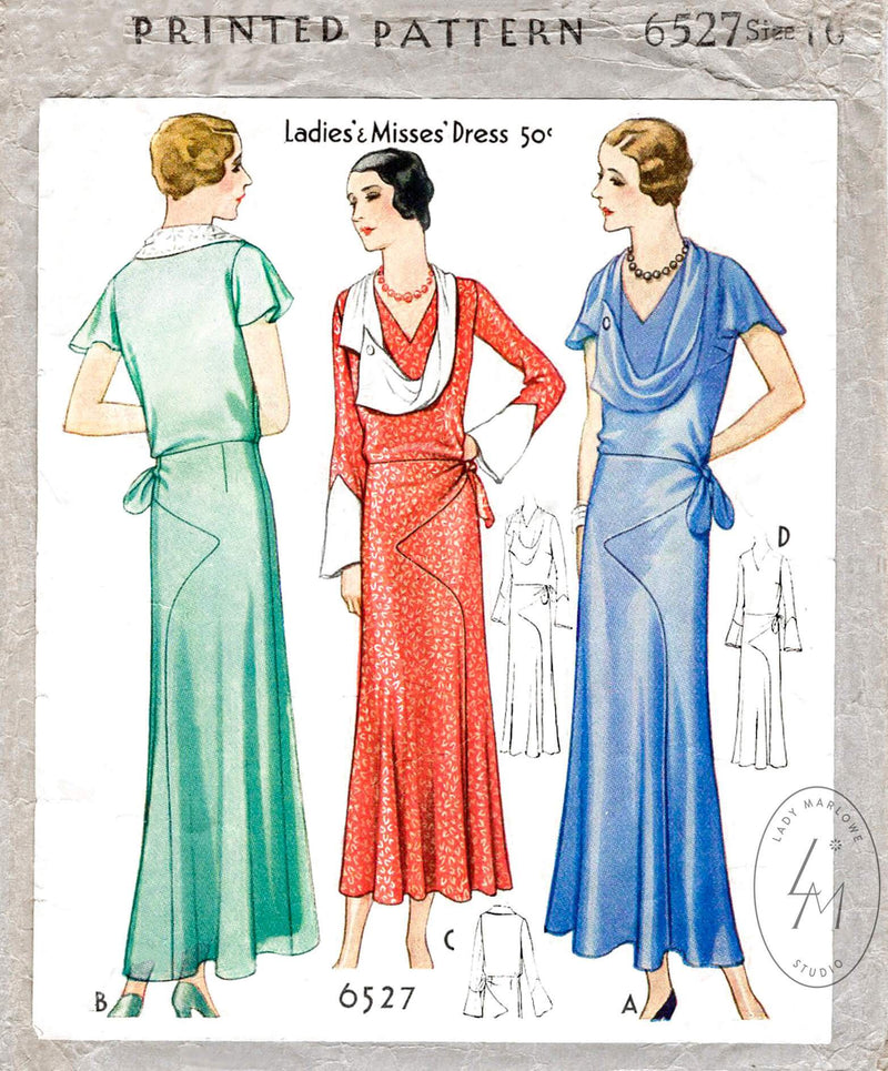 McCall 6527 1930s 1931 evening length dress draped collar art deco seams vintage sewing pattern reproduction