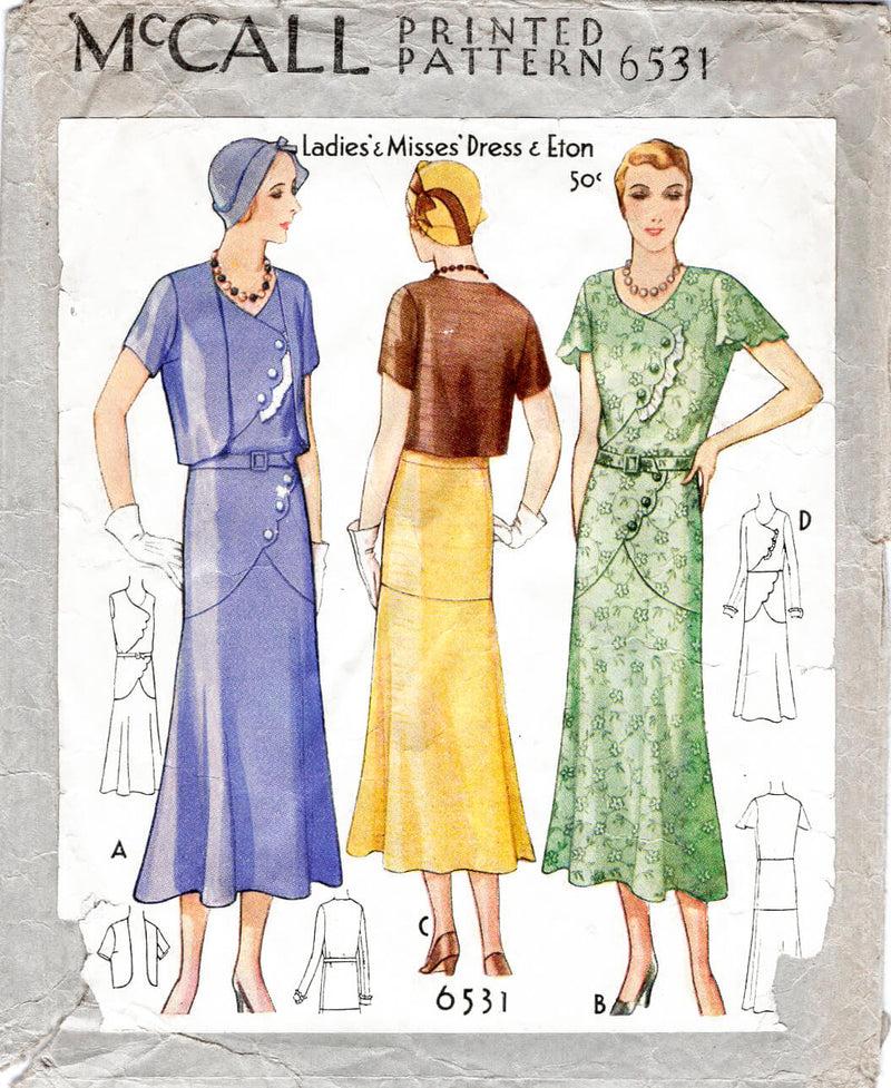1930s 1931 dress McCall 6531 scallop edge detail eton jacket vintage sewing pattern reproduction