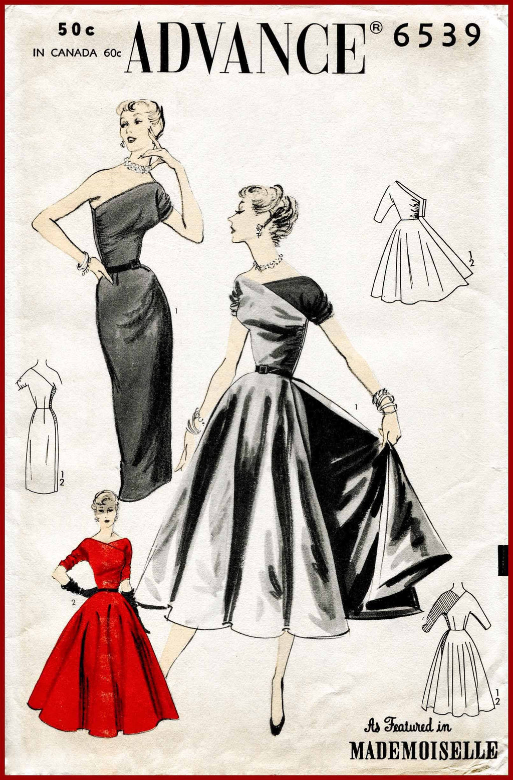 Advance 6539 1950s one shoulder dress sewing pattern