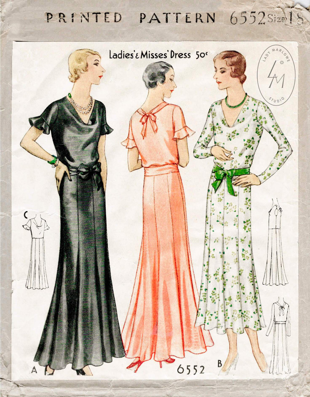 McCall 6552 1930s dress sewing pattern 1920s 20s 30s