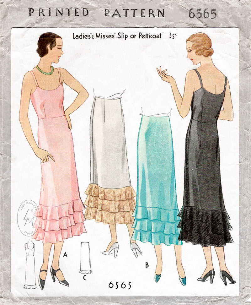 1930s vintage lingerie sewing pattern reproduction slip dress petticoat McCall 6565