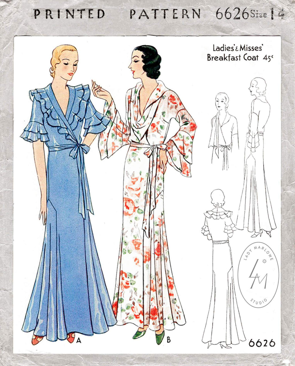 1920s 1930s ruffle nightgown robe vintage sewing pattern McCall 6626