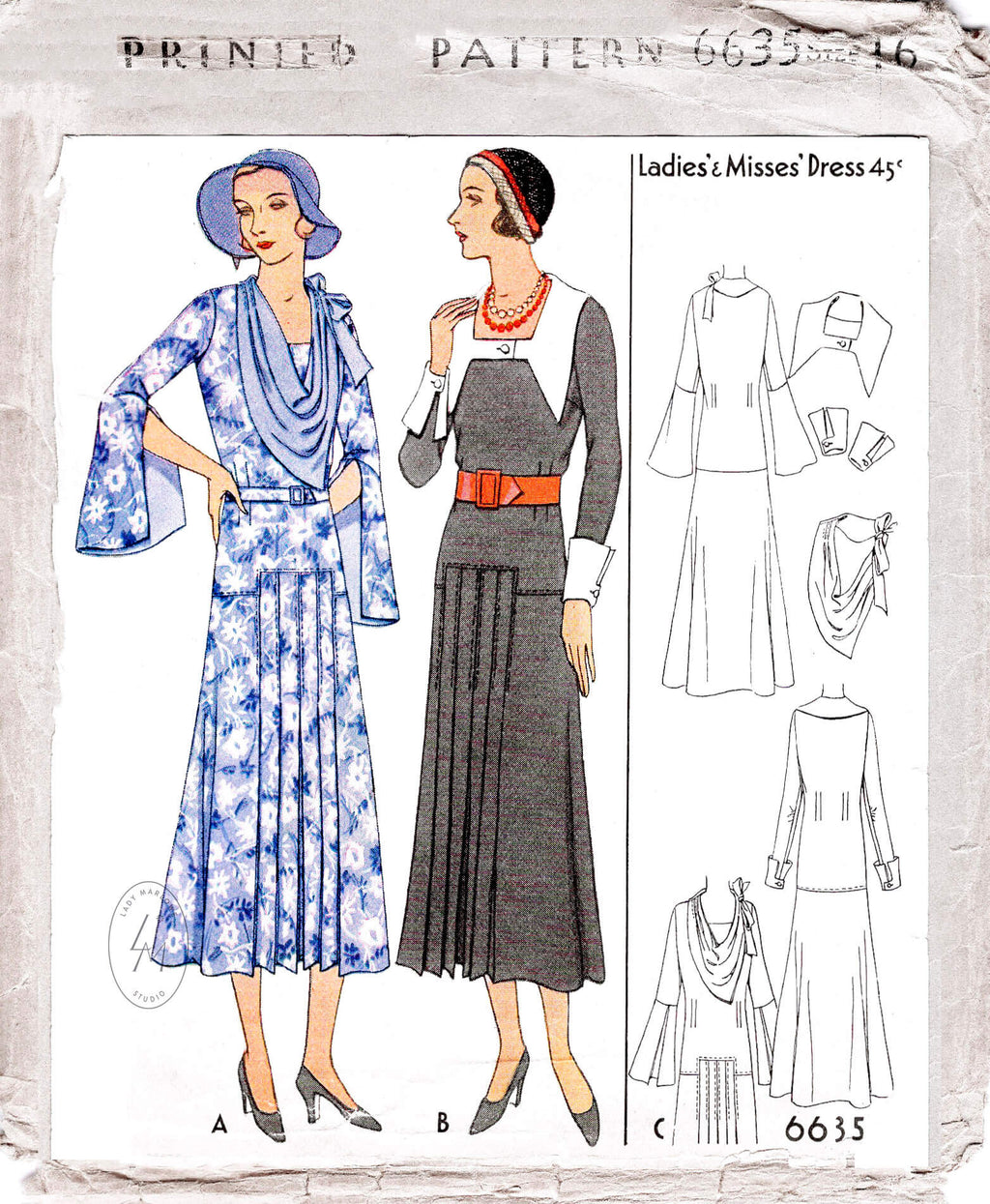 McCall 6635 1930s day dress vintage sewing pattern reproduction dress in 3 styles