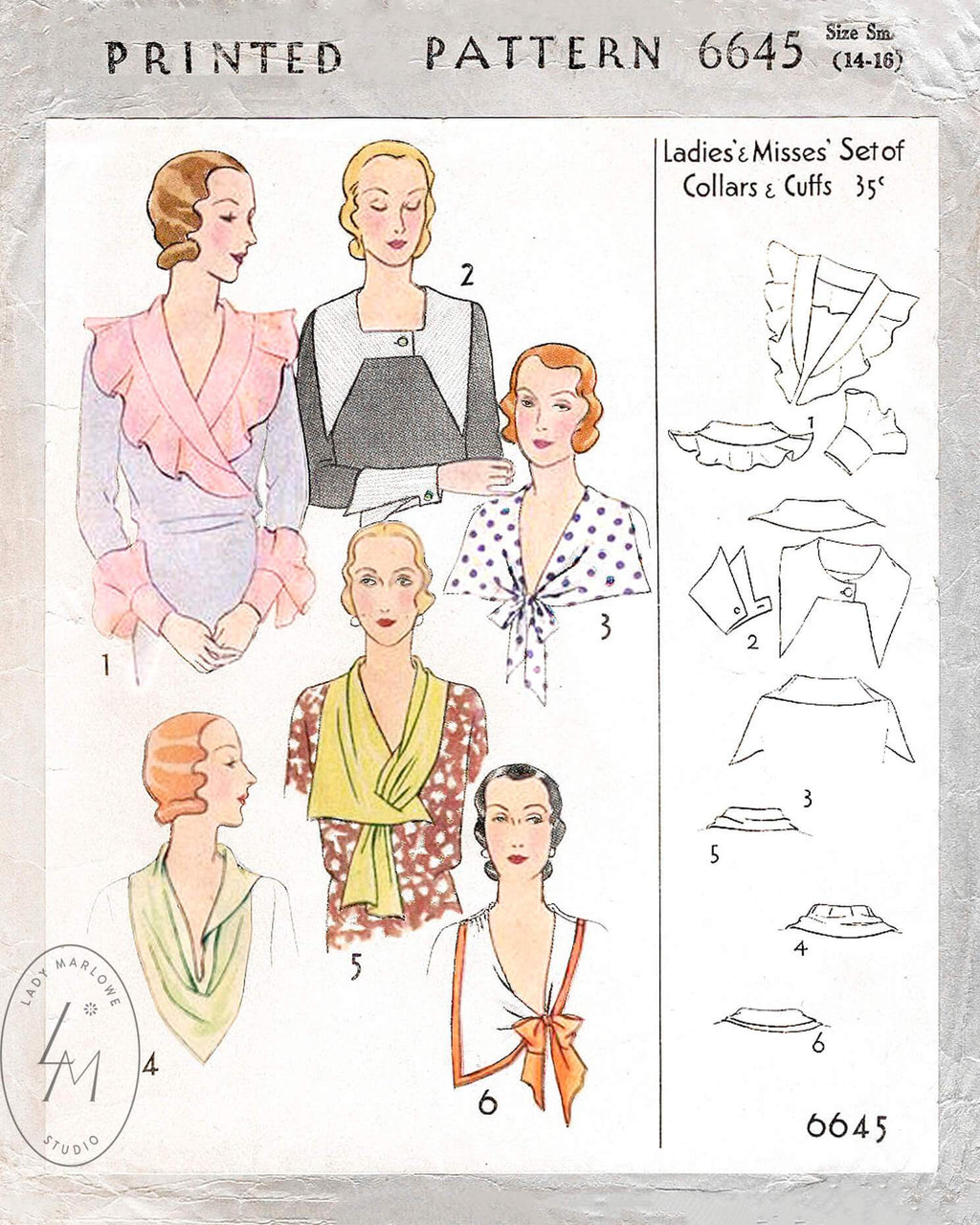 McCall 6645 set of collar and cuffs vintage accessories sewing pattern reproduction