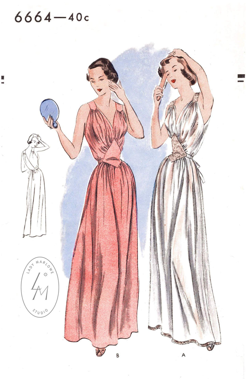 Vogue 6664 negligee 1950 1950s vintage lingerie sewing pattern