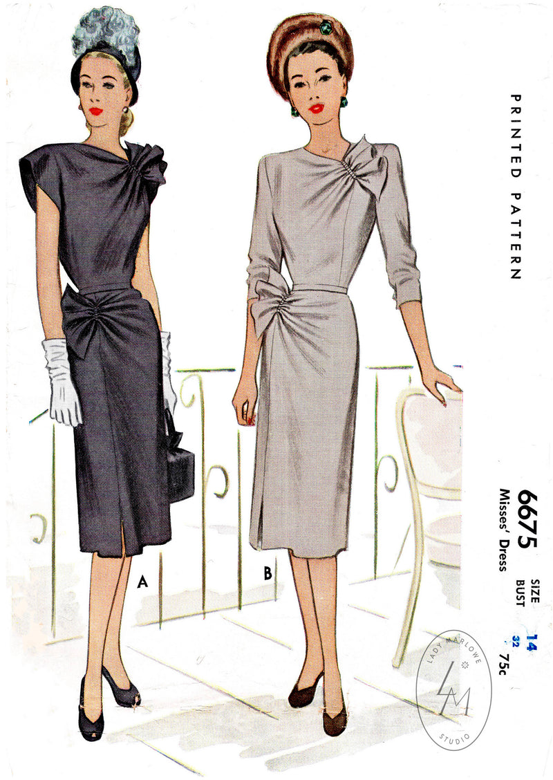 McCall 6675  1940s cocktail dress sewing pattern reproduction