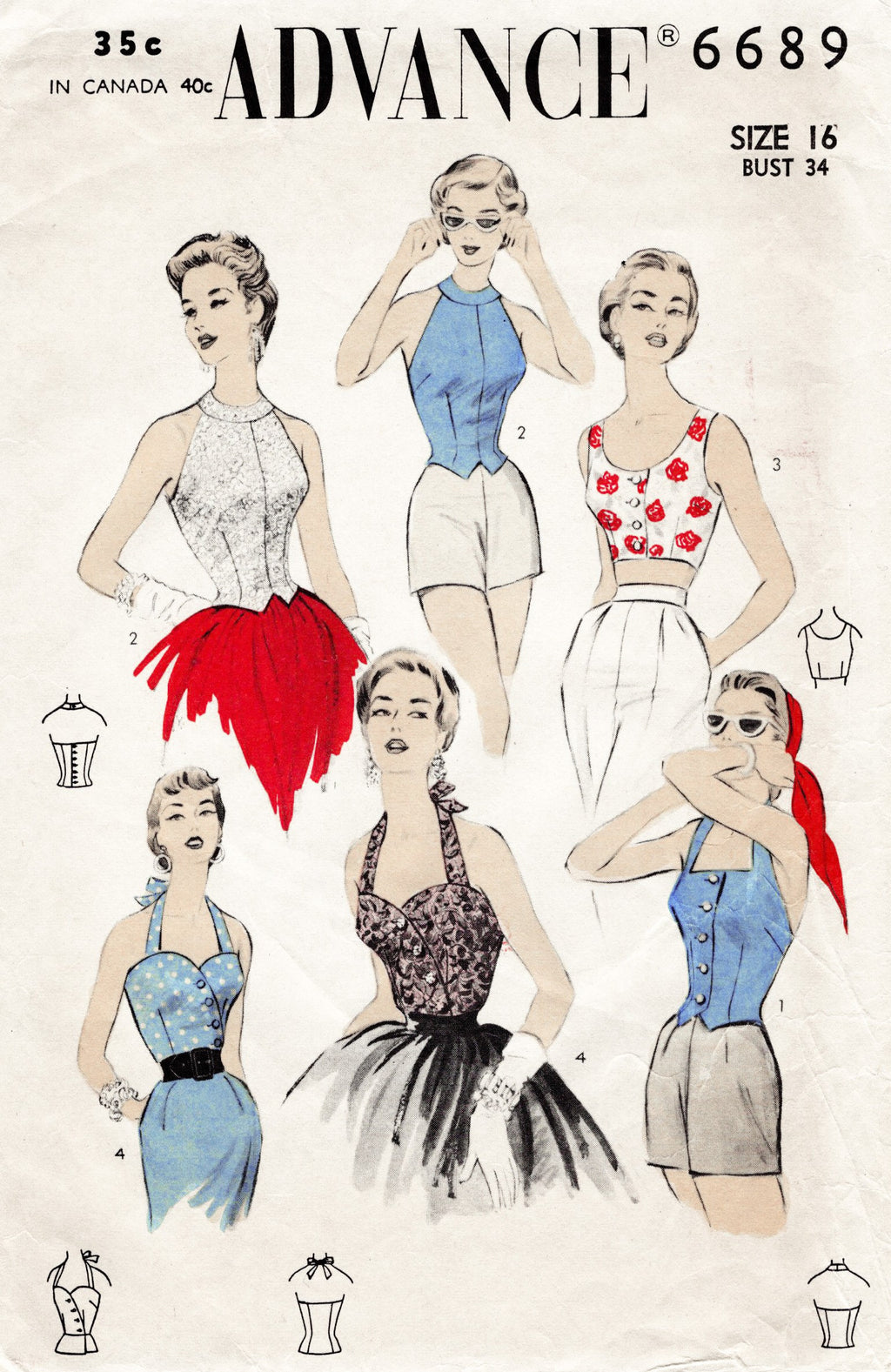 Advance 6689 1950s corp tops halters sewing pattern
