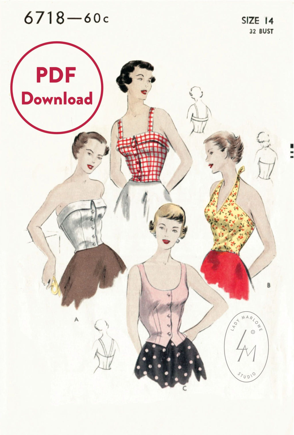 Vogue 6718 1950s crop top vintage sewing pattern 1950 50s halter PDF download