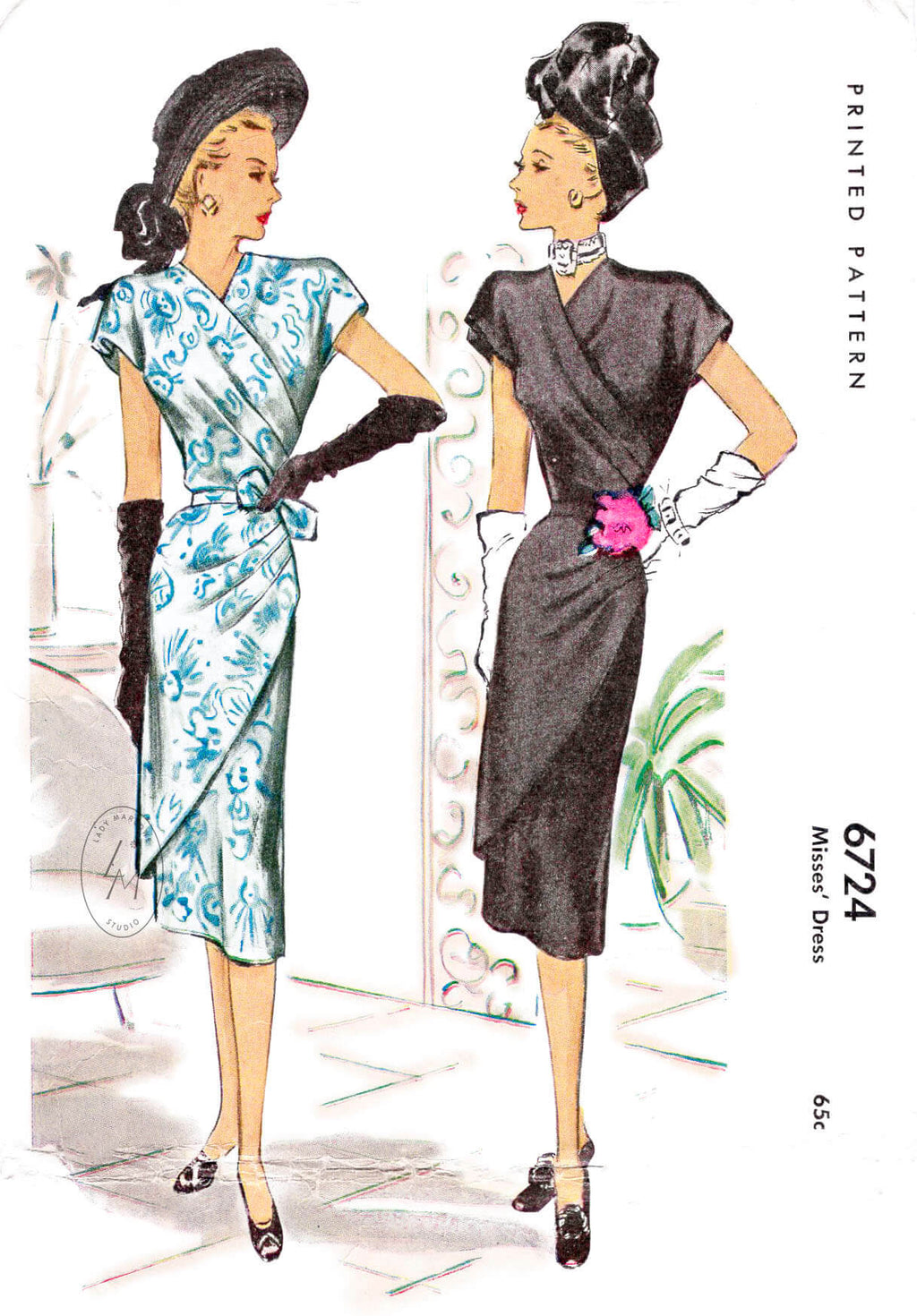 McCall 6724 1940s 19476 dress vintage sewing pattern