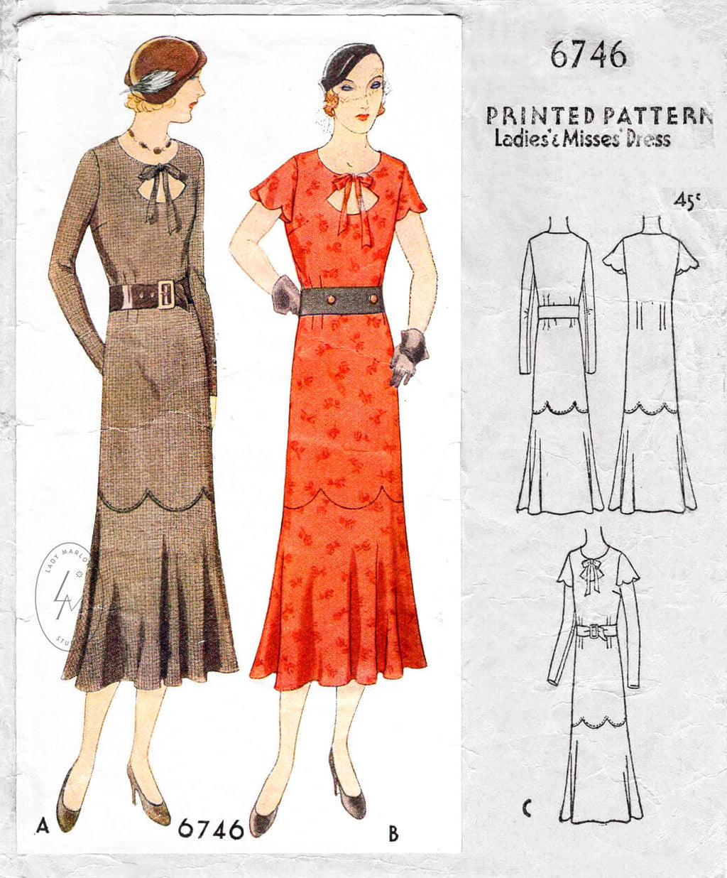 McCall 6746 1930s 1920s day dress scalloped edges flutter sleeves