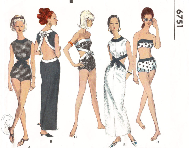 1960s beachwear 4 piece set, bikini, one piece bathing suit, backless dress. Vogue 6751