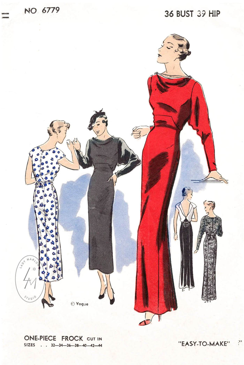vintage sewing pattern 1930s 30s dress day or evening length dinner gown Vogue 6779