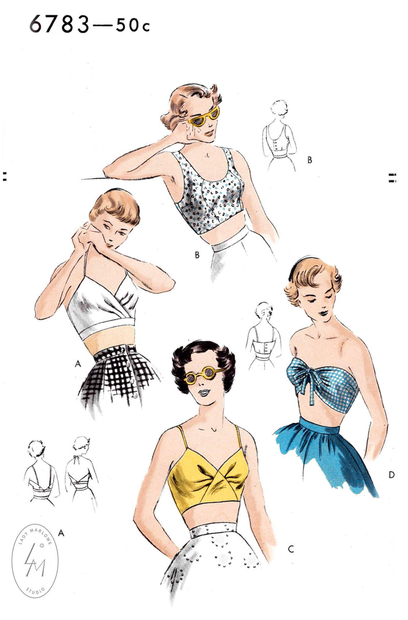 Vogue 6783 1950s beach tops crop top bandeau bikini vintage sewing pattern repro