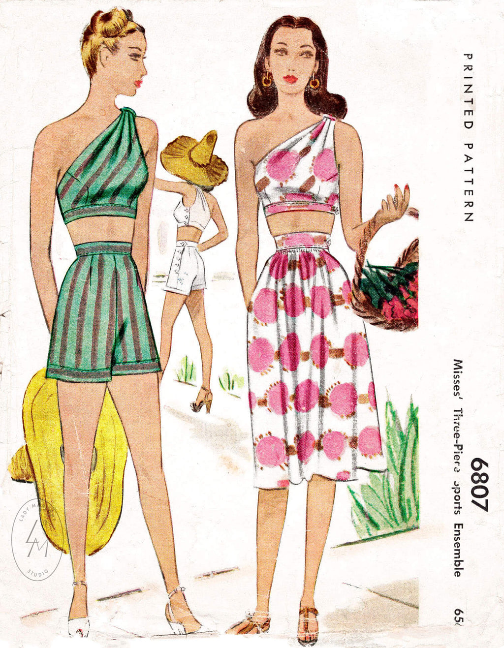 McCall 6807 vintage sewing pattern reproduction 1940s 1947 one shoulder crop top sun skirt high waisted shorts