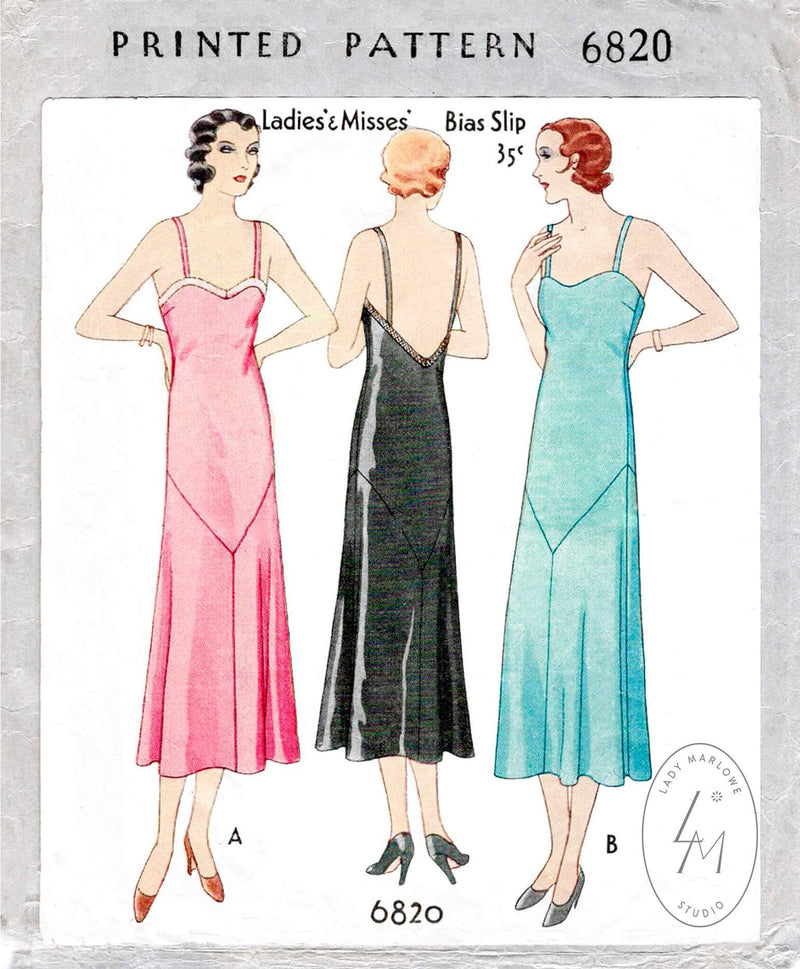 McCall 6820 1930s 1931 slip dress deep v plunge back vintage lingerie sewing pattern reproduction