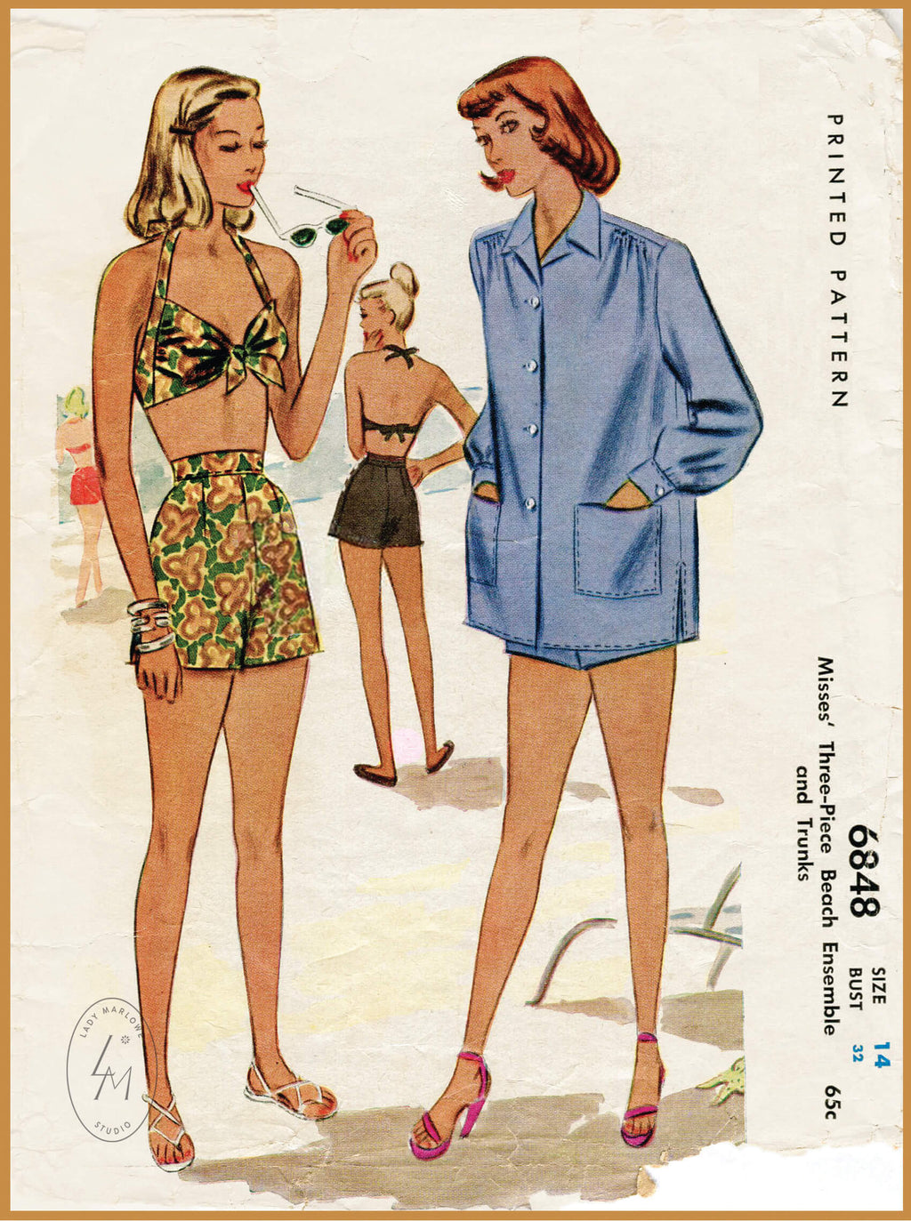 McCall 6848 1940s bikini top high waist shorts beach jacket vintage sewing pattern